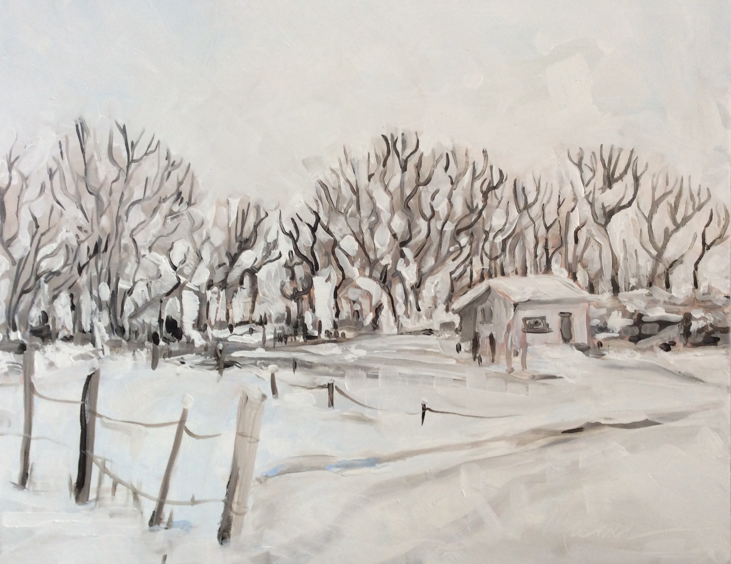 """""""Snow Day,"""" Melwell Romancito, oil on canvas, 16x20"""